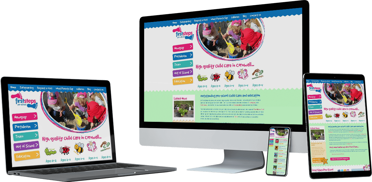 first steps cornwall website screens - First Steps Cornwall