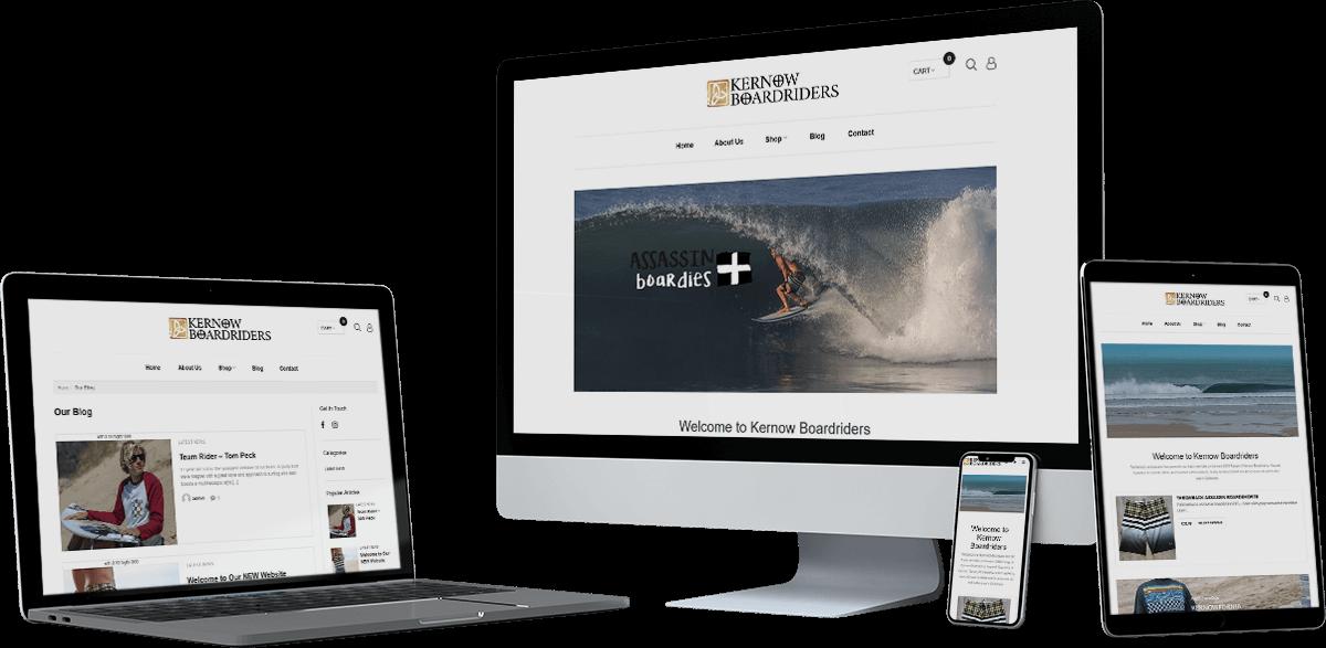 kernow board riders website screens - Kernow Boardriders